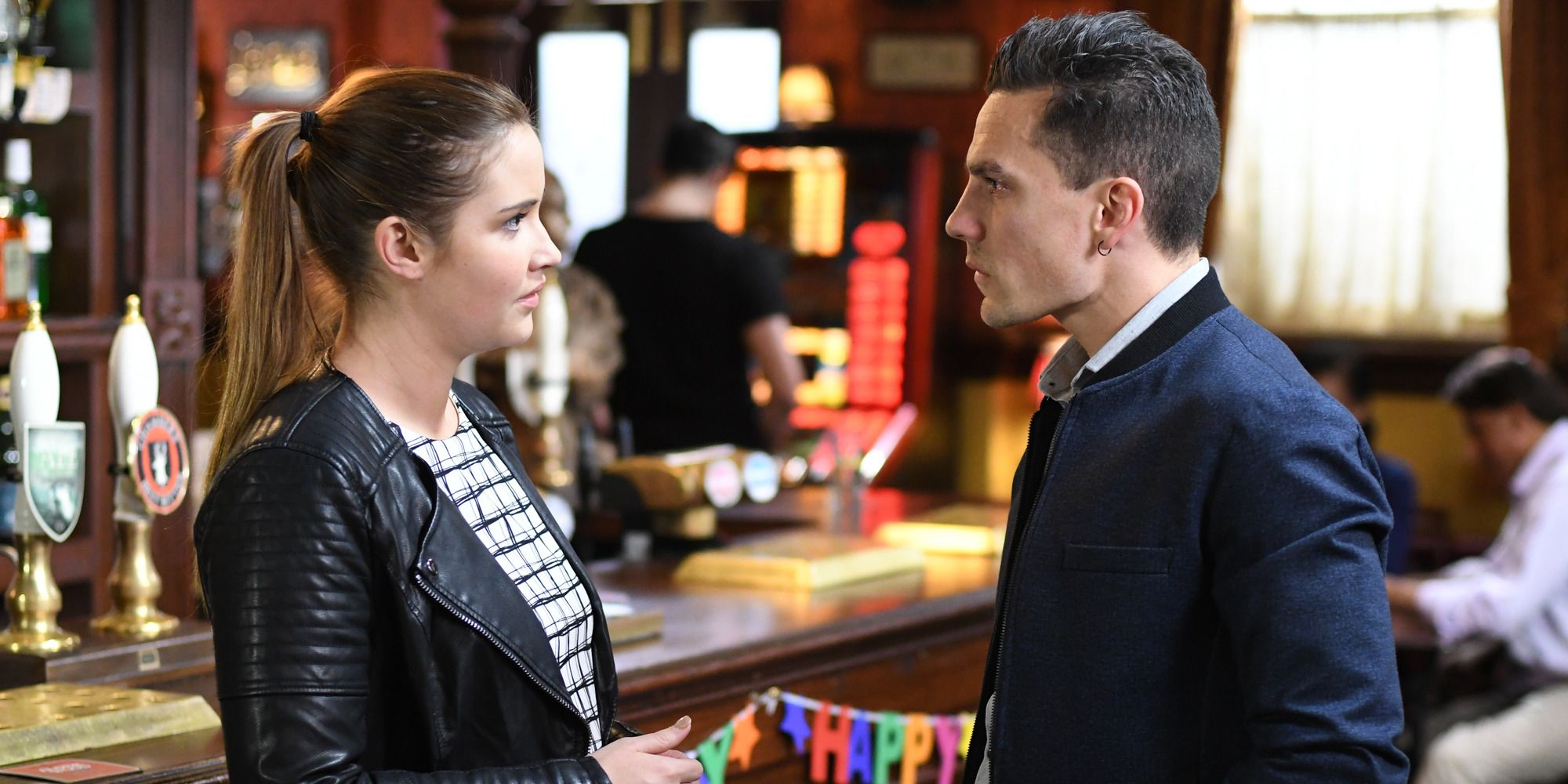 Lauren Branning and Steven Beale at The Vic in EastEnders