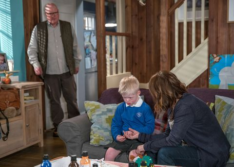 Rhona Goskirk struggles to explain the situation to Leo in Emmerdale