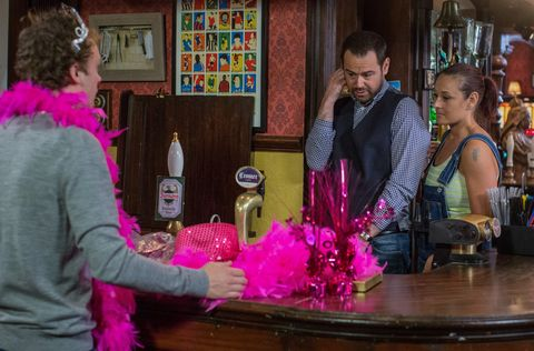 Mick, Johnny and Tina prepare for Linda's party in EastEnders