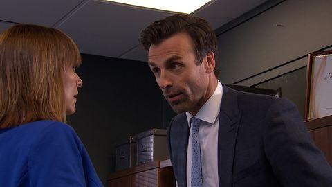Rhona Goskirk visits Pierce Harris at work in Emmerdale