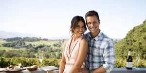Mark Brennan and Elly Conway take a trip in Neighbours