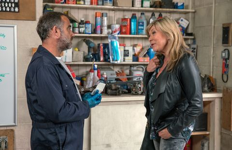 Erica Holroyd tempts Kevin Webster into having an affair in Coronation Street