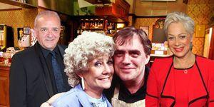 Rovers Return, Denise Welch (Natalie Barnes), John Bowe (Duggie Ferguson), Liz Dawn (Vera Duckworth) Bill Tarmey (Jack Duckworth)