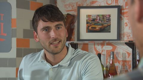 Damon Kinsella makes his first appearance in Hollyoaks