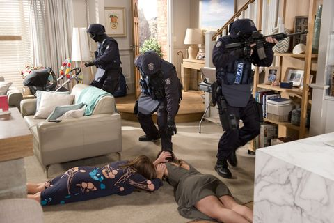 Paige Smith and Terese Willis are terrified by armed police in Neighbours