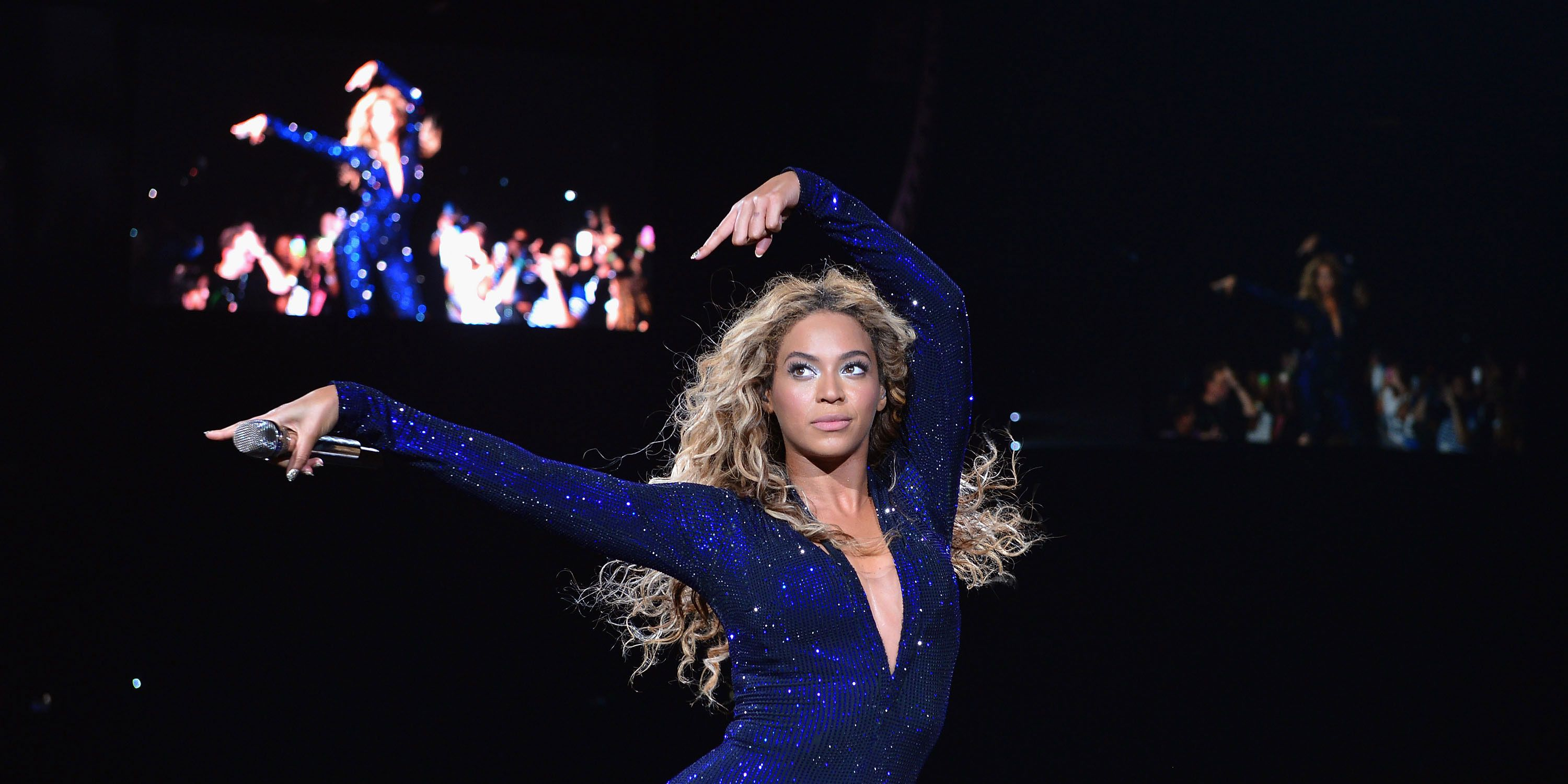 Beyonce performs on stage during 'The Mrs. Carter Show World Tour' at the American Airlines Arena on July 10, 2013
