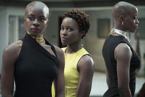 Danai Gurira as Okoye and Lupita Nyong'o as Nakia in Black Panther