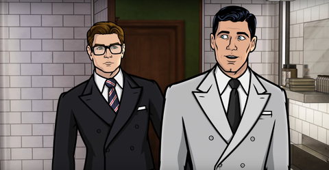 Eggsy and Archer in Archer/Kingsman crossover clip