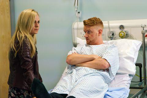 Sarah Platt visits Gary Windass in hospital in Coronation Street
