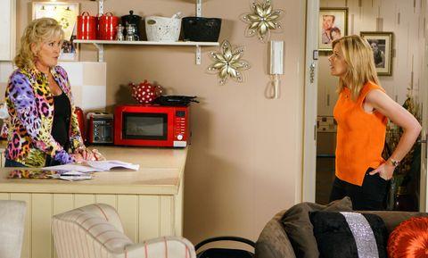 Liz McDonald is worried about Steve and Leanne Battersby in Coronation Street