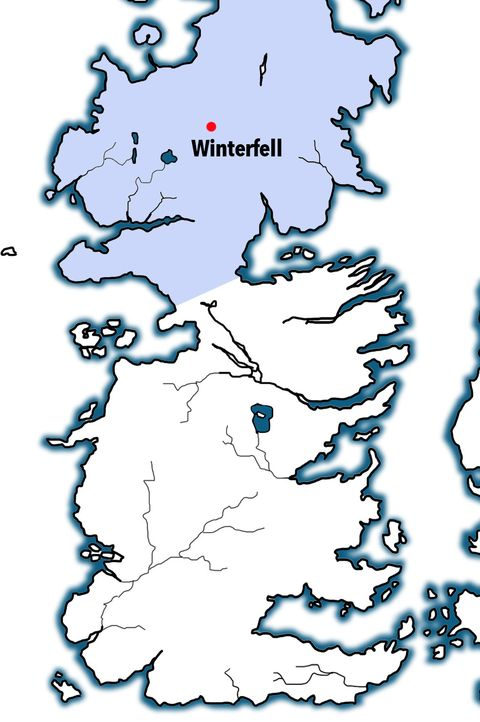 Pretty straightforward – the North, a massive, dreary district from the Neck to the Wall,was a holdover from the First Men.     Those guys – the first humans on Westeros –took over the land in ancient times from the fairy-likeChildren of the Forest and were later invaded themselves by the Andals, though they kept their old traditions, like worshipping trees.     Torrhen Stark was their last king, till Robb Stark and later Jon Snow revived the tradition.