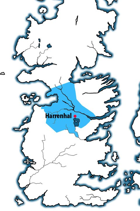 Technically this kingdom included the Iron Islands, but they've been an independent kingdom on and off through Westeros' history. (They're the ones off there to the left.)   Governed from Harrenhal (where Arya served Tywin Lannister and met the Faceless Man Jaqen H'Ghar)it was ruled over by the Iron Islands'Hoare dynasty at the time of Aegon's conquest.