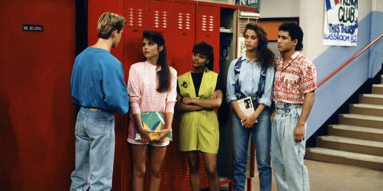 Saved by the Bell, 1991, Mark-Paul Gosselaar as Zack Morris, Tiffani Thiessen as Kelly Kapowski, Lark Voorhies as Lisa Turtle, Elizabeth Berkley as Jessie Spano, Mario Lopez as A.C. Slater