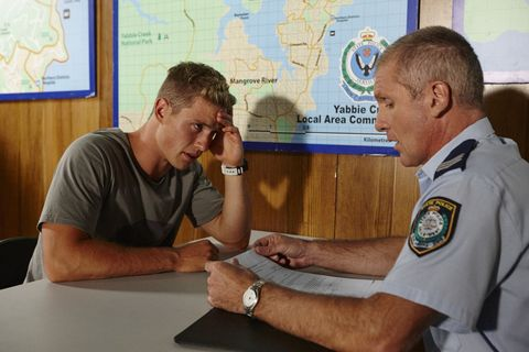 Hunter King gets questioned by the police in Home and Away