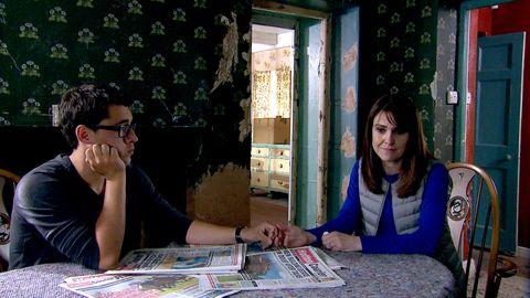 Emma Barton gets caught by Finn in Emmerdale