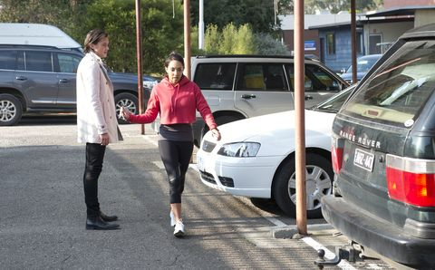 Tyler Brennan is run over by Mishti Sharma in Neighbours