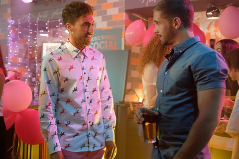Scott Drinkwell and Brody Hudson at the ladies' night in Hollyoaks