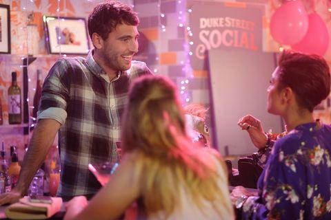 Damon Kinsella and Farrah Maalik at the ladies' night in Hollyoaks