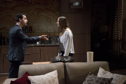 Amy Williams and Nick Petrides have a furious showdown in Neighbours