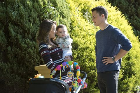 Paige Smith and Jack Callahan with baby Gabe in Neighbours