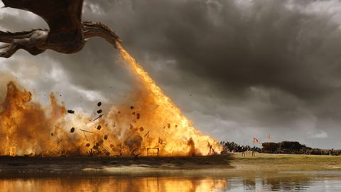 Daenerys Targaryen, Drogon, fire, battle scene, Game of Thrones, GOT, Season 7, episode 4
