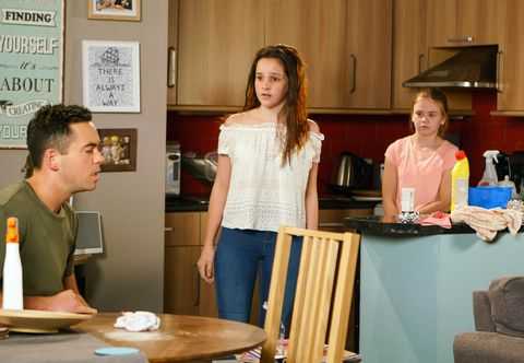 Summer Spellman messes with Amy Barlow's hair in Coronation Street