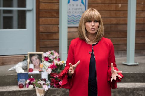 Kate Garraway arrives to report on the trial in Hollyoaks