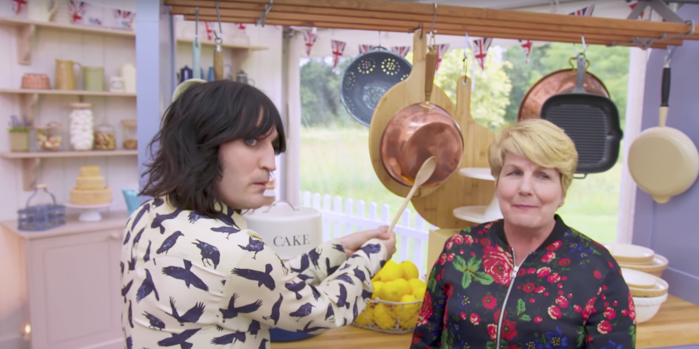 Noel Fielding and Sandi Toksvig in The Great British Bake Off