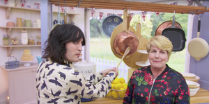 Noel Fielding and Sandi Toksvig in The Great British Bake Off