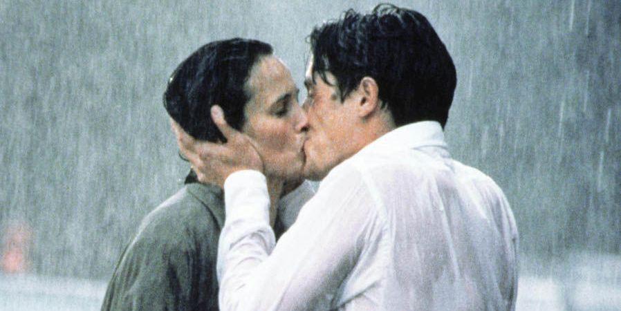 Four Weddings and a funeral rain kiss