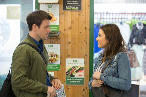 Bex Fowler ambushes Gethin Pryce at the Minute Mart in EastEnders