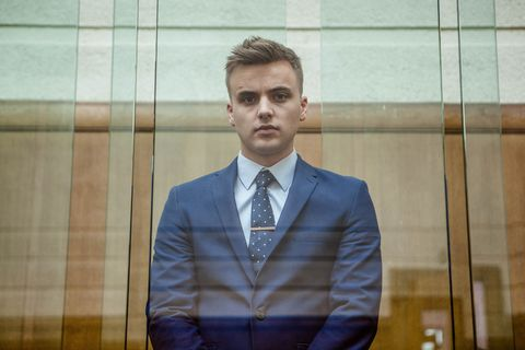 Harry Thompson at Ste Hay's murder trial in Hollyoaks