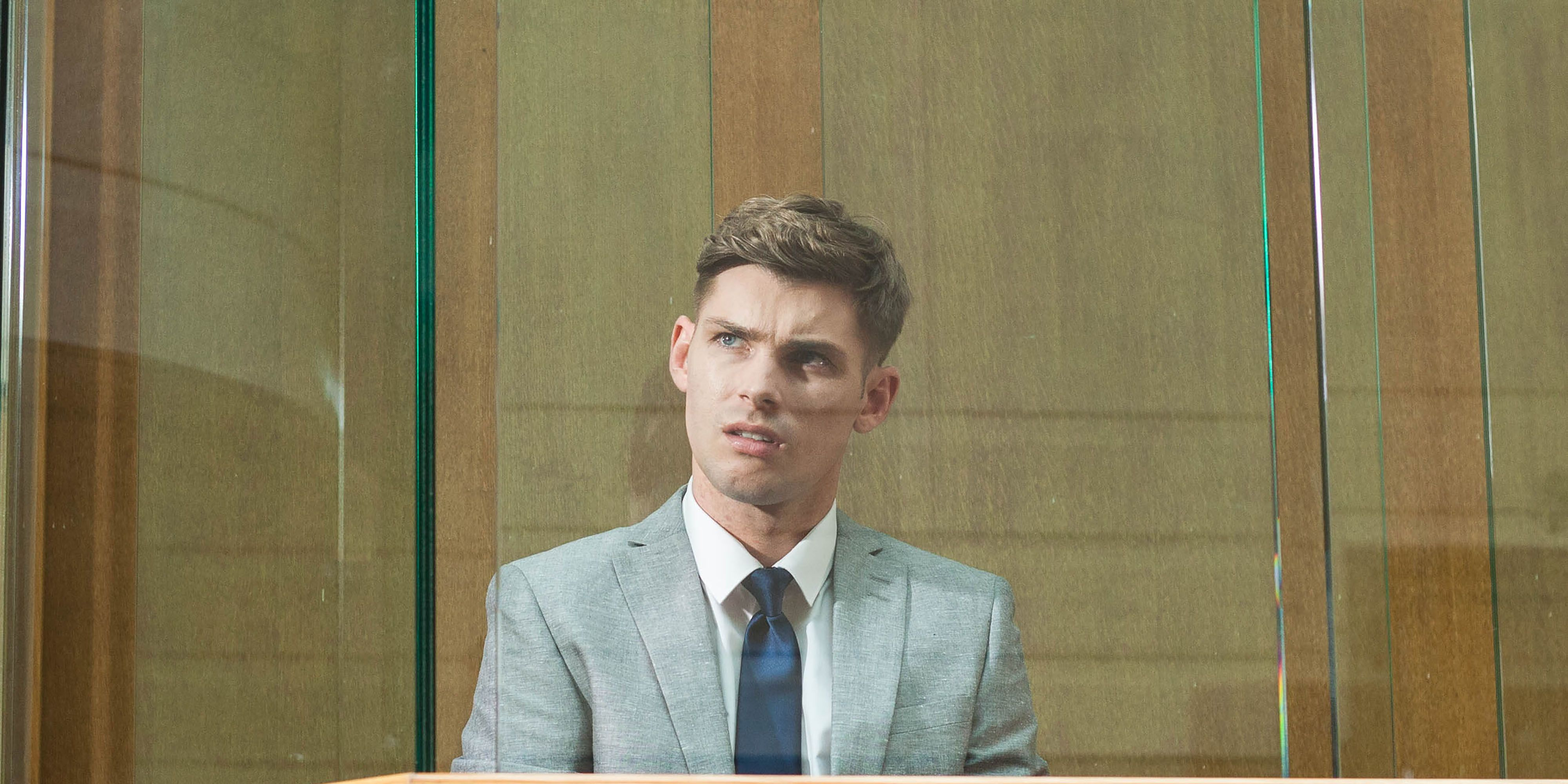 Ste Hay is baffled by James Nightingale's behaviour at his trial in Hollyoaks