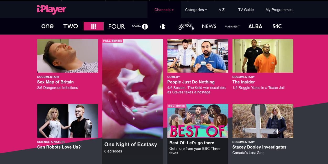 BBC Three iPlayer homepage, September 7