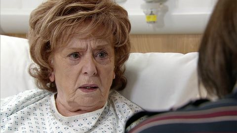 Rita Tanner waits to see the specialist in Coronation Street
