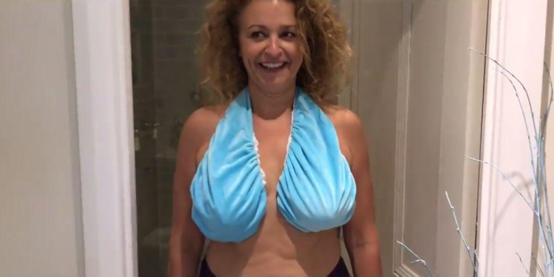 Nadia Sawalha models the Ta-Ta Towel