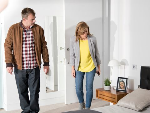 Steve McDonald and Leanne Battersby search for stalker clues in Coronation Street