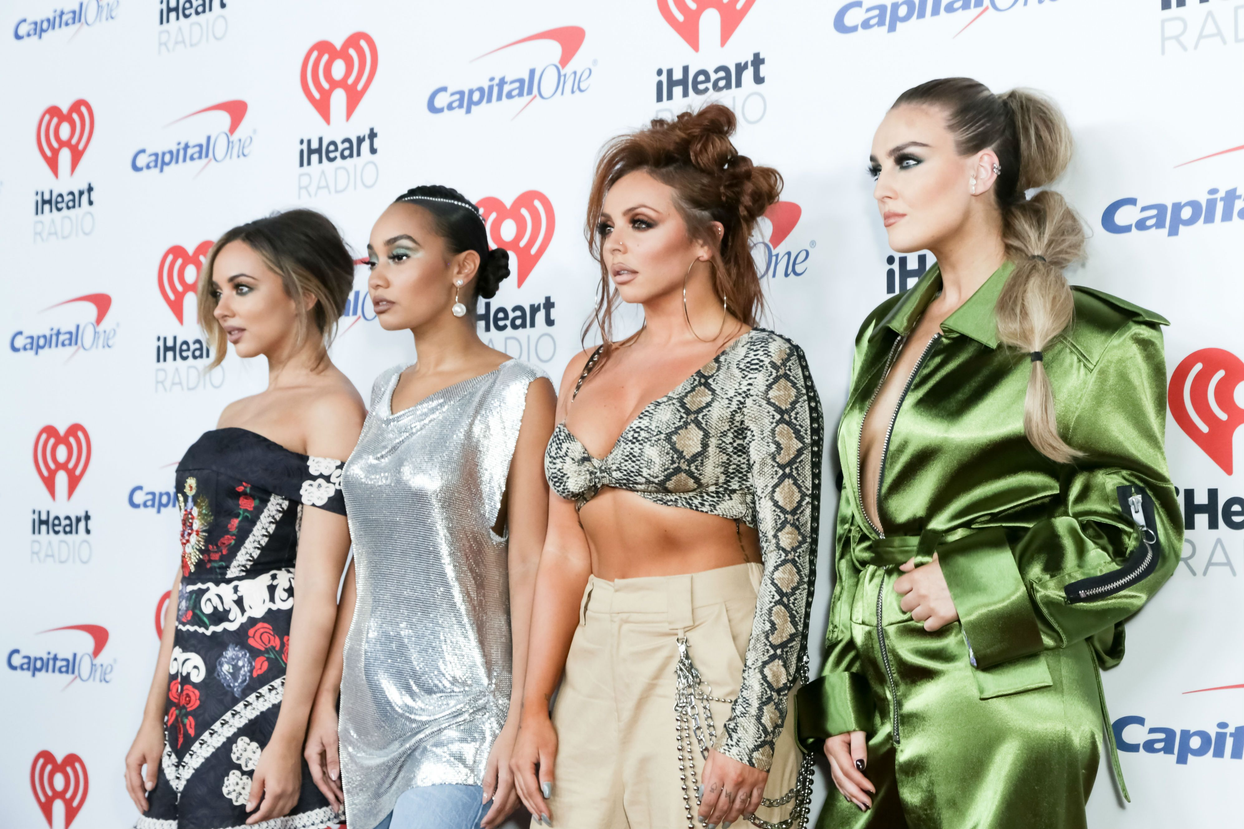 Jade Thirlwall, Leigh-Anne Pinnock, Jesy Nelson, and Perrie Edwards of Little Mix arrive at the 2017 iHeartRadio Music Festival at T-Mobile Arena