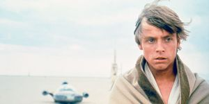 Mark Hamill on the set of Star Wars: Episode IV - A New Hope