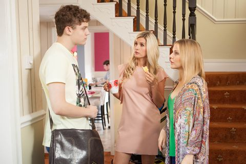 Tom Cunningham with Mandy Richardson and Cindy Cunningham in Hollyoaks