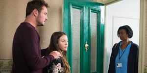 Stacey and Martin Fowler receive another visit from the social worker in EastEnders