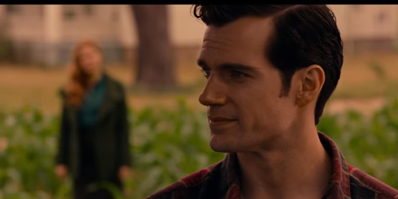 Henry Cavill as the Man of Steel in Justice League film (Amy Adams as Lois Lane also appears)