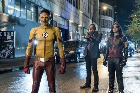 Keiynan Lonsdale as Wally West / Kid Flash and Carlos Valdes as Cisco Ramon / Vibe in The Flash season 4 episode 1 'The Flash Reborn'