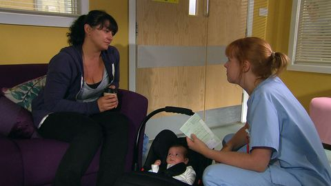 Moira Dingle takes Isaac to the hospital in Emmerdale