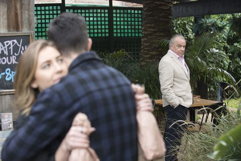 Piper Willis sees that T-Bone is back in Neighbours