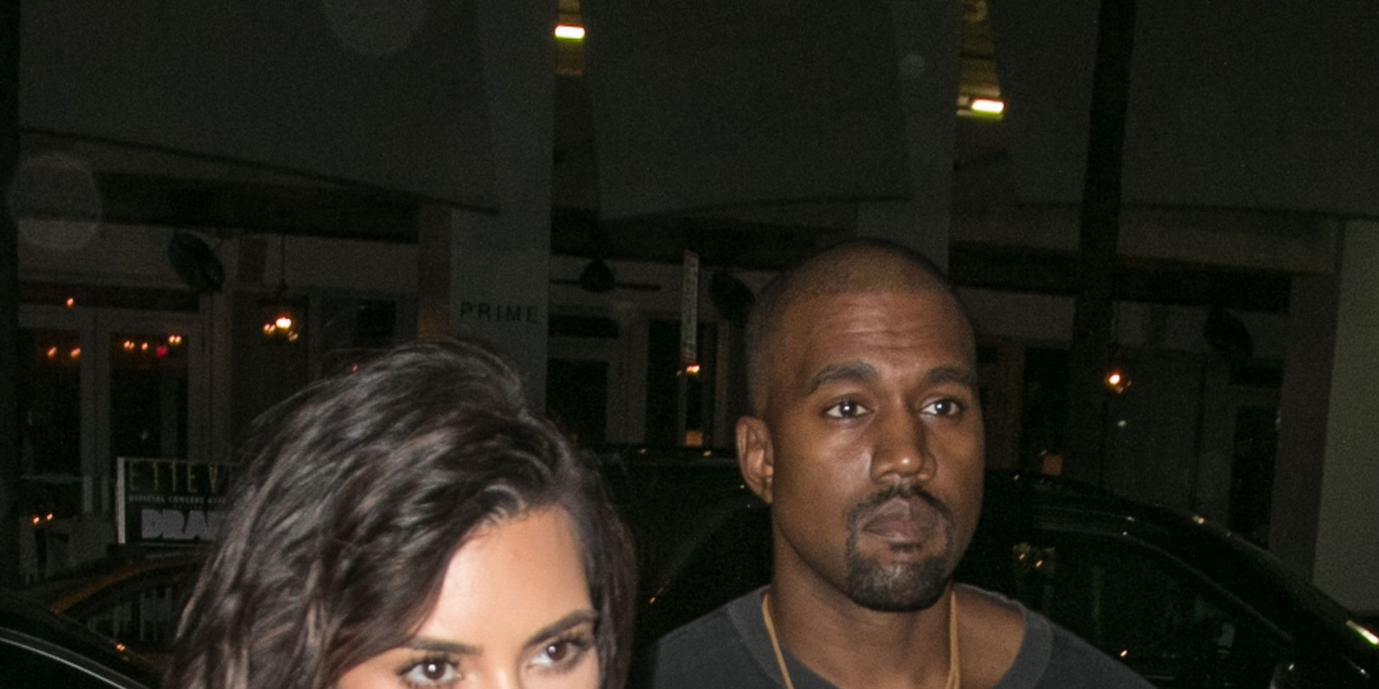 Kim Kardashian and Kanye West are seen arriving to Prime 112 steakhouse