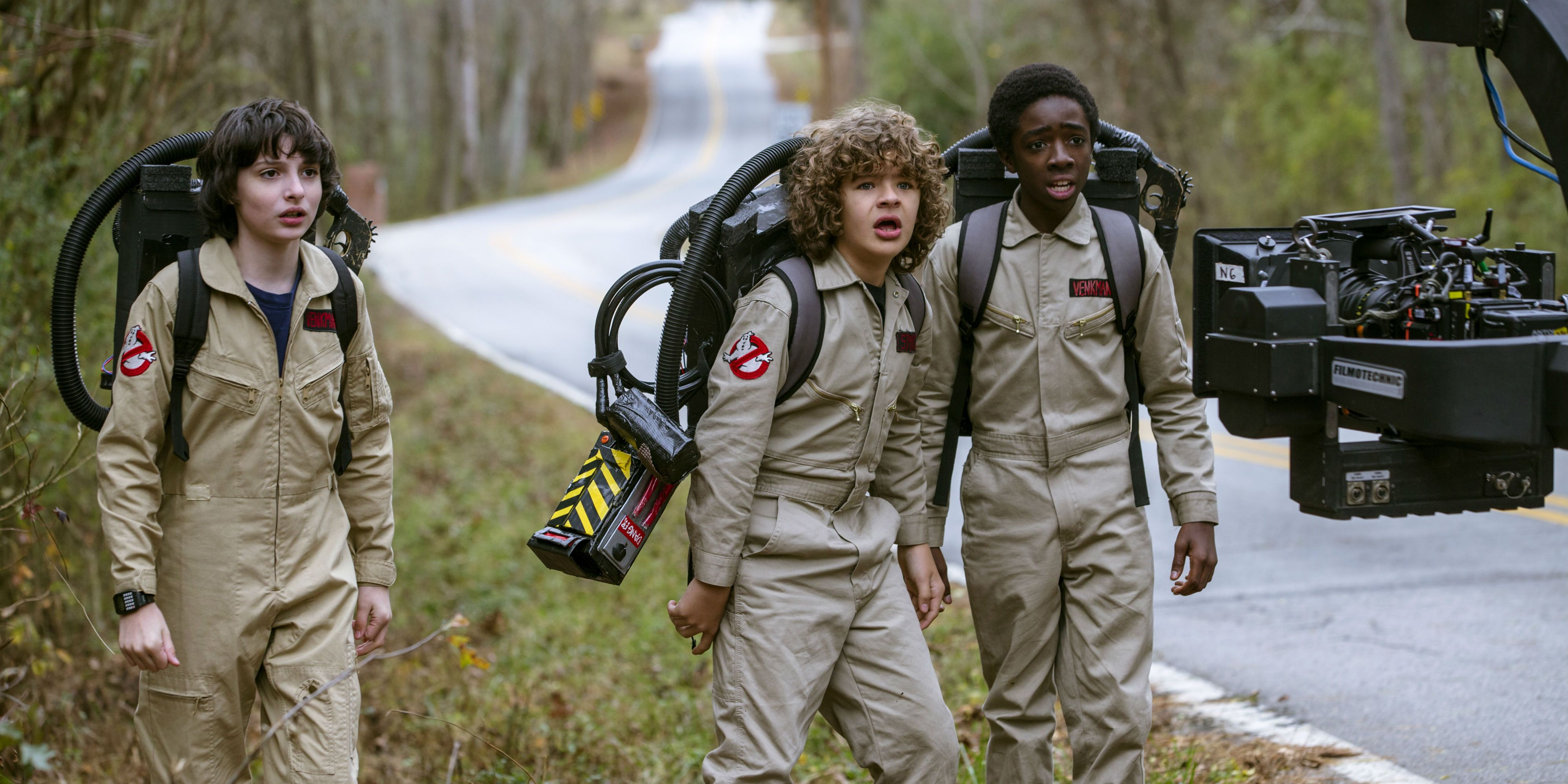 Finn Wolfhard, Gaten Matarazzo and Caleb McLaughlin behind the scenes on season 2