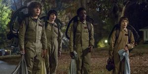 Gaten Matarazzo, Finn Wolfhard, Caleb McLaughlin and Noah Schnapp in Stranger Things season 2 still