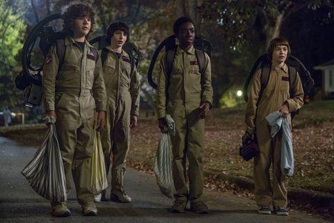 Gaten Matarazzo, Finn Wolfhard, Caleb McLaughlin and Noah Schnapp in Stranger Things season 2 still