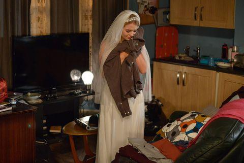 Abi Branning dresses in Lauren's wedding dress in EastEnders